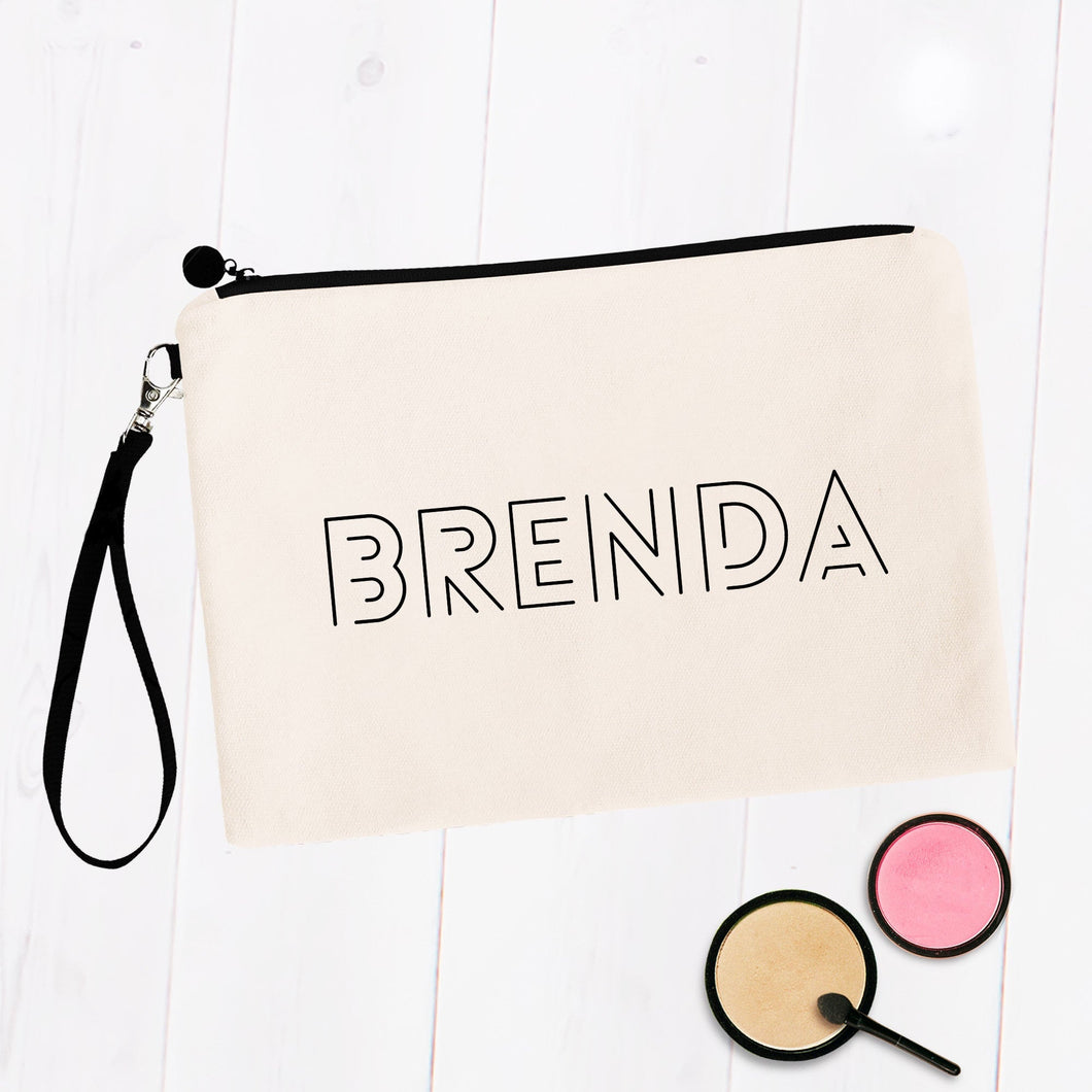 Modern Block Script Personalized Makeup Bag