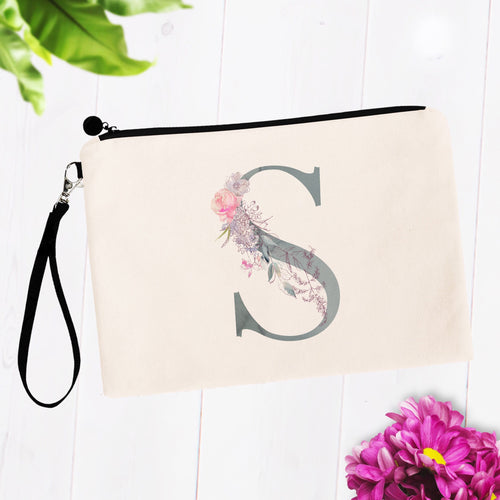 Soft Blue Floral Monogram Makeup Bag