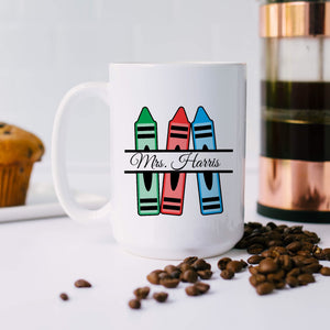 Custom Teacher Name Crayon Mug