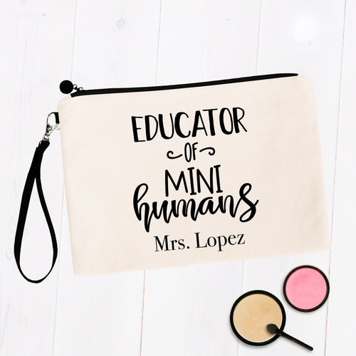 Educator of Mini Humans Custom Teacher Name Bag