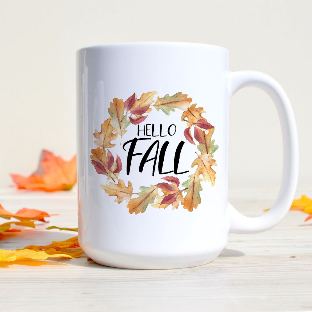 Hello Fall Colorful Leaves Wreath