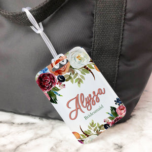 Floral Orange Burgundy Rustic Custom Luggage Tag