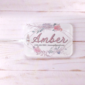 Soft Floral Geometric Bridesmaid Custom Luggage Tag