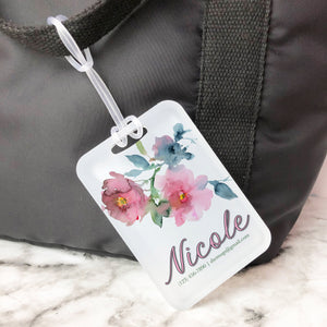 Soft Pink Floral Watercolor Custom Luggage Tag