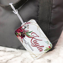 Load image into Gallery viewer, Burgundy Floral Geometric Bridesmaids Custom Luggage Tag