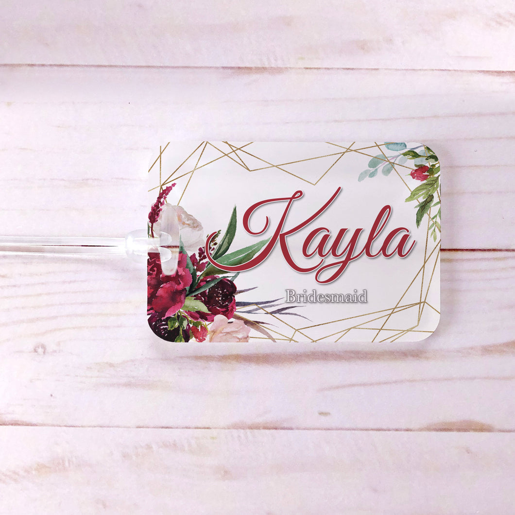 Burgundy Floral Geometric Bridesmaids Custom Luggage Tag