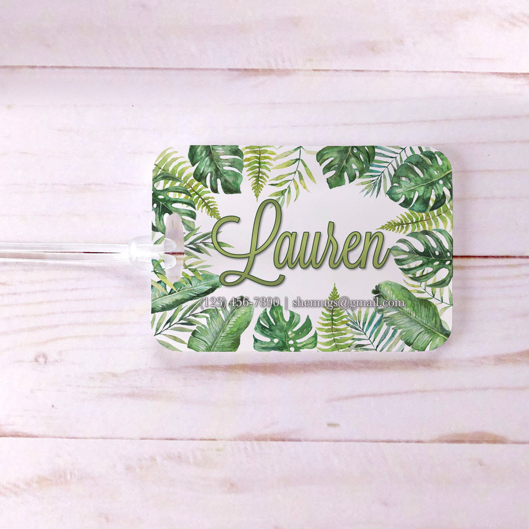 Tropical Leaves Palms Banana Leaves Custom Luggage Tag