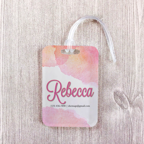 Soft Pink Watercolor Wedding Custom Luggage Tag