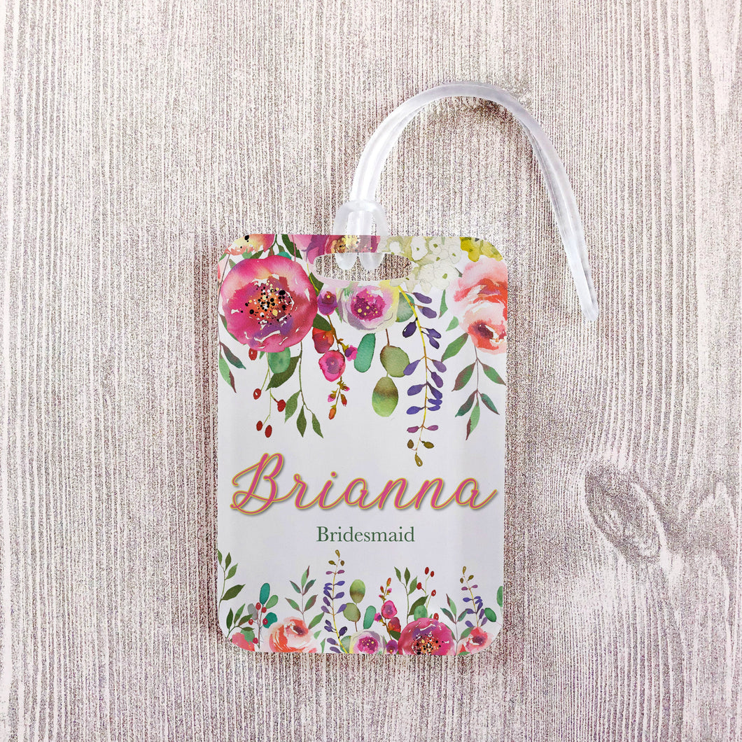 Pink Floral Modern Bridesmaid Custom Luggage Tag