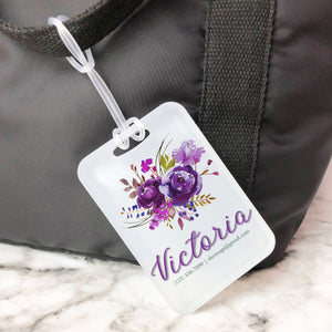 Purple Bouquet Floral Custom Luggage Tag