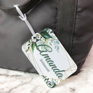 Floral Greenery Geometric Bridesmaid Custom Luggage Tag