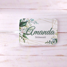 Load image into Gallery viewer, Floral Greenery Geometric Bridesmaid Custom Luggage Tag