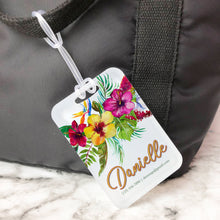 Load image into Gallery viewer, Aloha Floral Hibiscus Honeymoon Custom Luggage Tag
