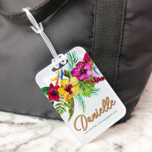 Aloha Floral Hibiscus Honeymoon Custom Luggage Tag