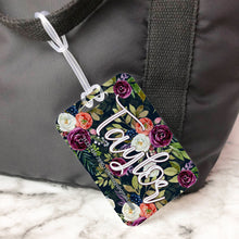 Load image into Gallery viewer, Dark Floral Peony Pattern Custom Luggage Tag