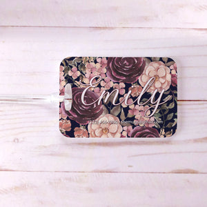 Dark Floral Bridesmaids Rustic Custom Luggage Tag