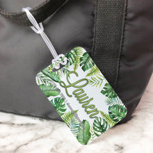 Load image into Gallery viewer, Tropical Leaves Palms Banana Leaves Custom Luggage Tag