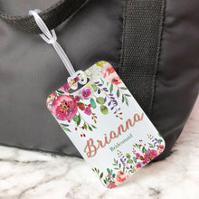 Load image into Gallery viewer, Pink Floral Modern Bridesmaid Custom Luggage Tag
