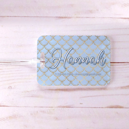 Mermaid Scale Pattern Blue Gold Custom Luggage Tag