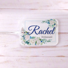 Load image into Gallery viewer, Blue White Floral Frame Custom Luggage Tag