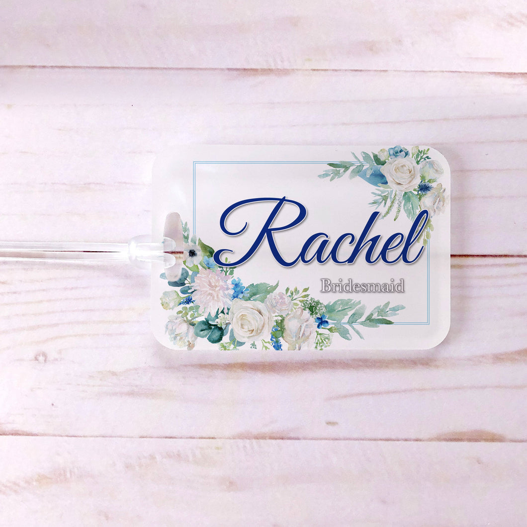 Blue White Floral Frame Custom Luggage Tag