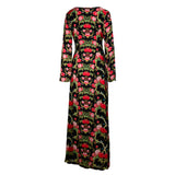 Maxi Long Dress Black Floral -  - MODE Revolution -Sustainable Fashion