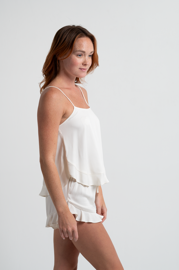 Cami Ruffle Short Set - Cloud - Short Set - MODE Revolution -Sustainable Fashion