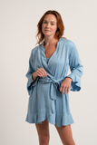 Ruffle Robe - Sky - Robe - MODE Revolution -Sustainable Fashion