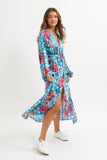 Blue Dragon Puff Sleeve Dress -  - MODE Revolution -Sustainable Fashion