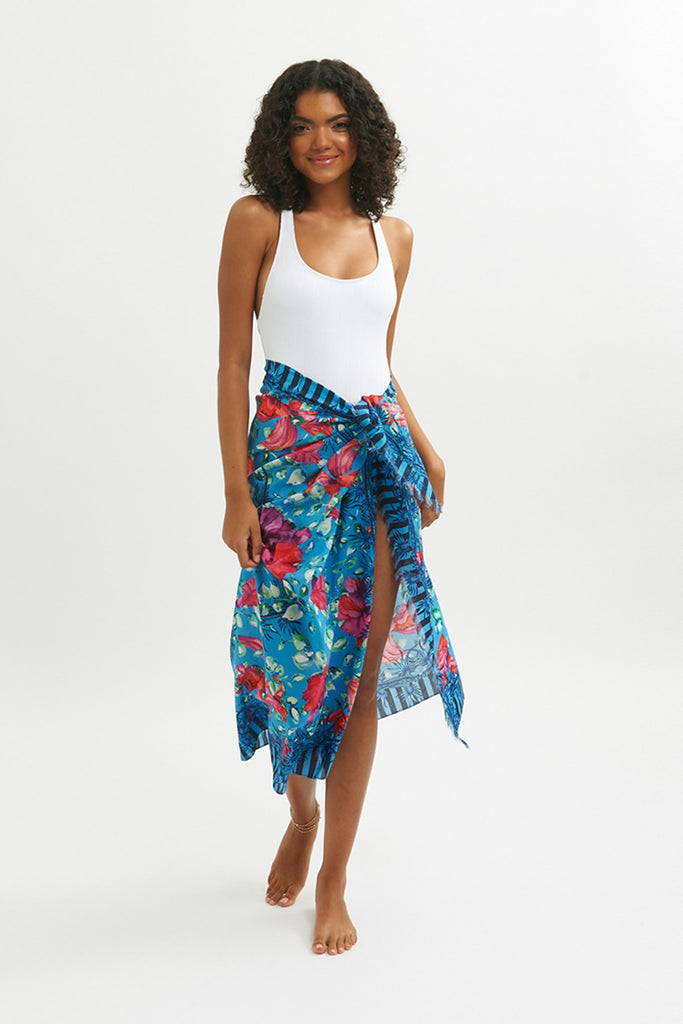 Blue Dragon Fringed Sarong Scarf -  - MODE Revolution -Sustainable Fashion