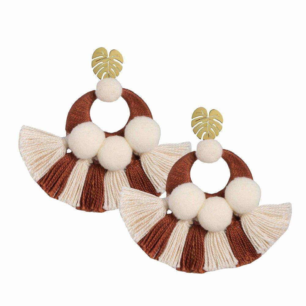 Beige Salpicón Earrings - Earrings - MODE Revolution -Sustainable Fashion