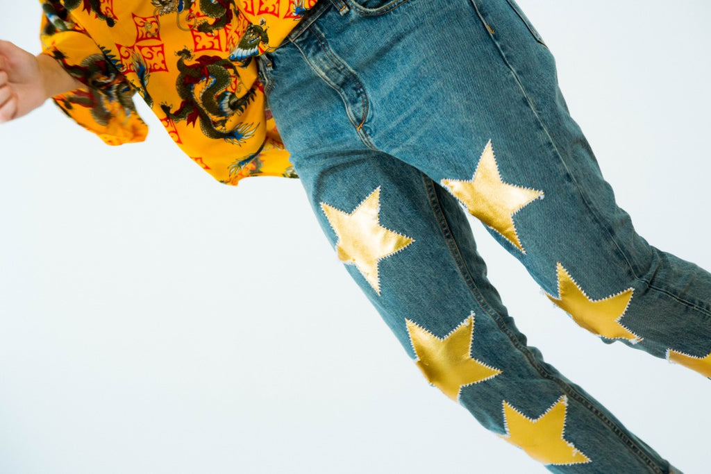 Gold Leather Stars Boyfriend Jeans -  - MODE Revolution -Sustainable Fashion