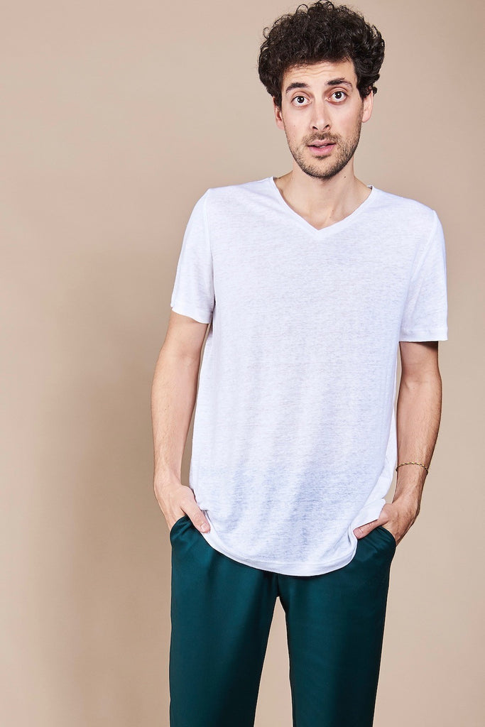 T-Shirt Vector Linen White -  - MODE Revolution -Sustainable Fashion