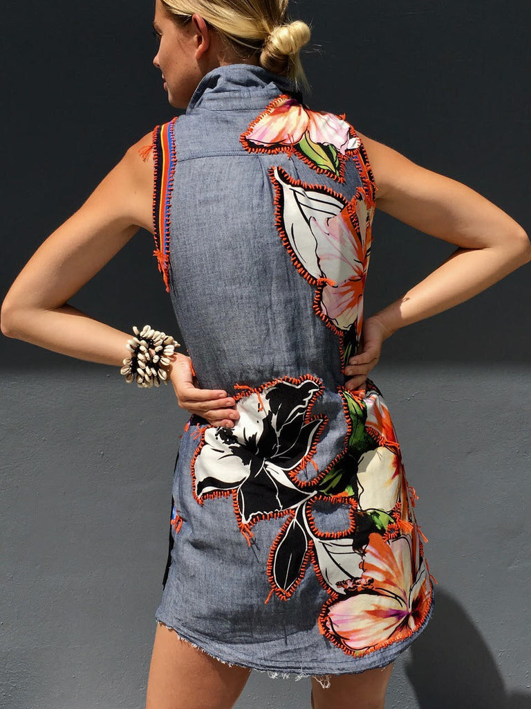 Fraying Sleeveless Dress -  - MODE Revolution -Sustainable Fashion