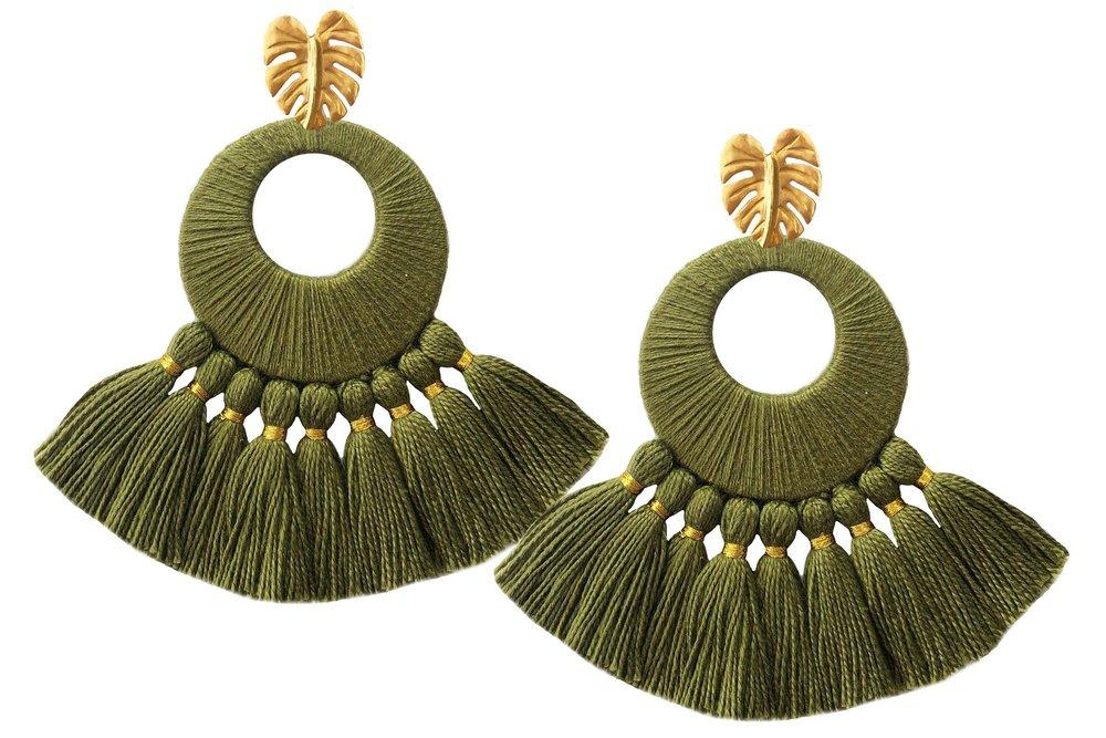 Olive Florentine Earrings - Earrings - MODE Revolution -Sustainable Fashion