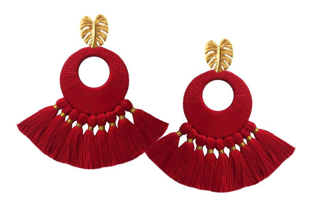 Red Florentine Earrings - Earrings - MODE Revolution -Sustainable Fashion