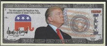 Load image into Gallery viewer, 1.8. (5) Trump 2020 collectors re-election bill.