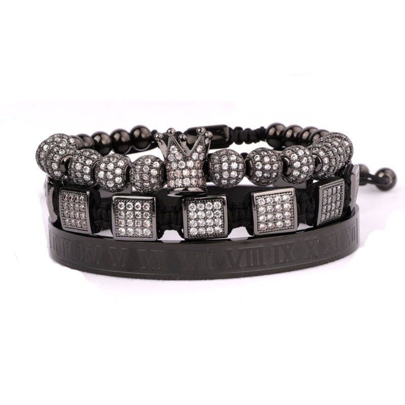 Royalty Diamond Collection | Luxury Bead Bracelet | Black - Tienda Coconut