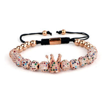 Load image into Gallery viewer, Crown Charm | Luxury Multi Beads Bracelet for Women | Rose Gold - Tienda Coconut