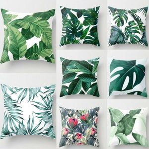 Green Leaves Pillow Case  Square Dec