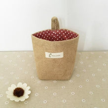 Load image into Gallery viewer, Linen Woven Storage Basket Polka