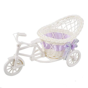 Decoration Rattan Tricycle Vase for Decoration