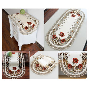 Vintage Embroidered Rose Cutwork Tablecloths