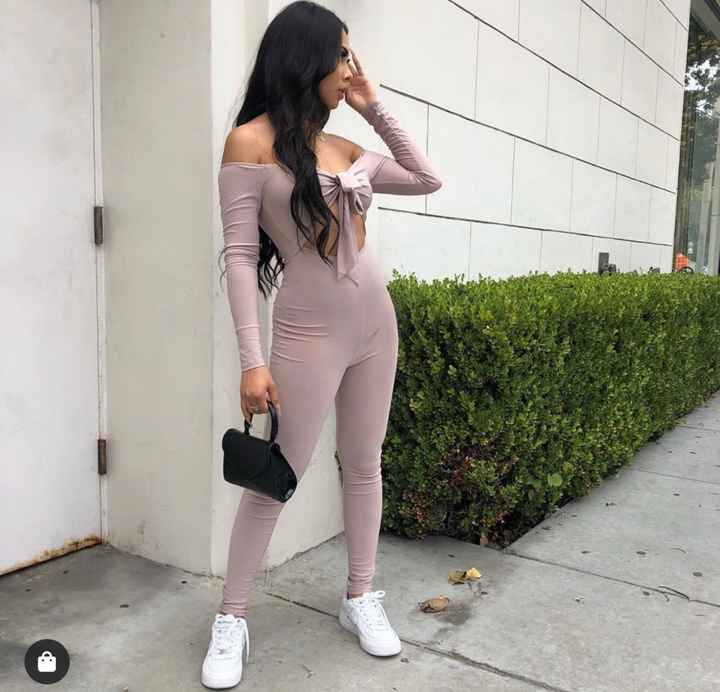 Kylie off the shoulder long sleeve jumpsuit with tie front