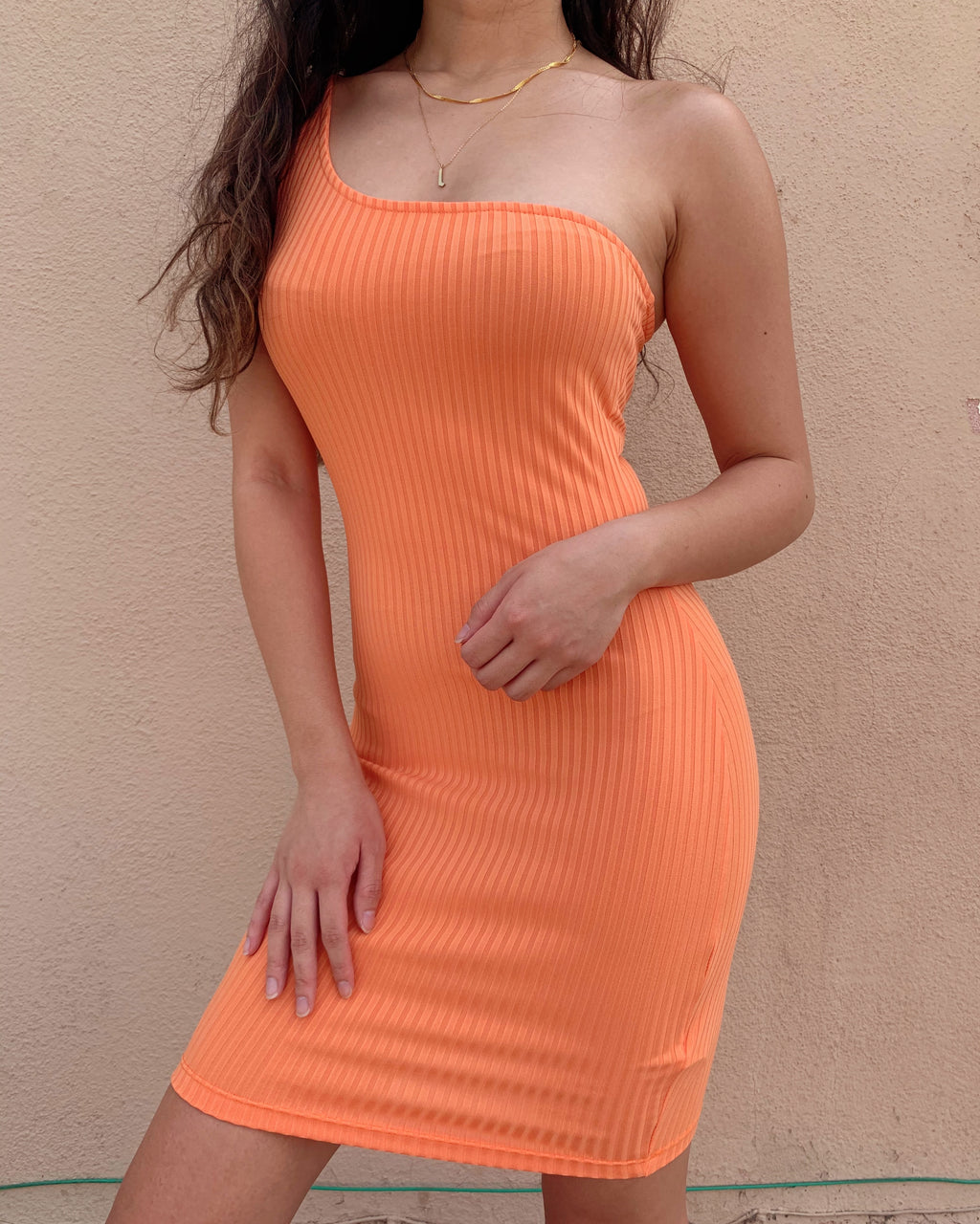 TAY ONE SHOULDER MINI DRESS (ORANGE)