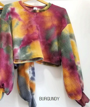 TIE DYE SWEATER CROP TOP SWEATSHIRT