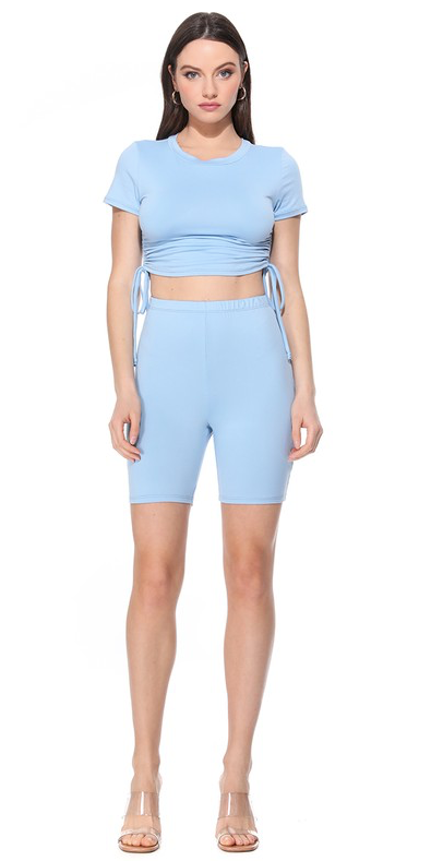 SHIRRING CROP TOP BIKER SHORT SETS