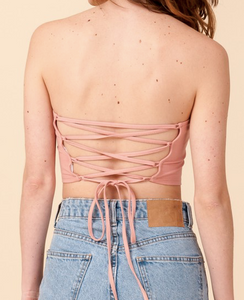 Ky Lace Up Back Tube Top