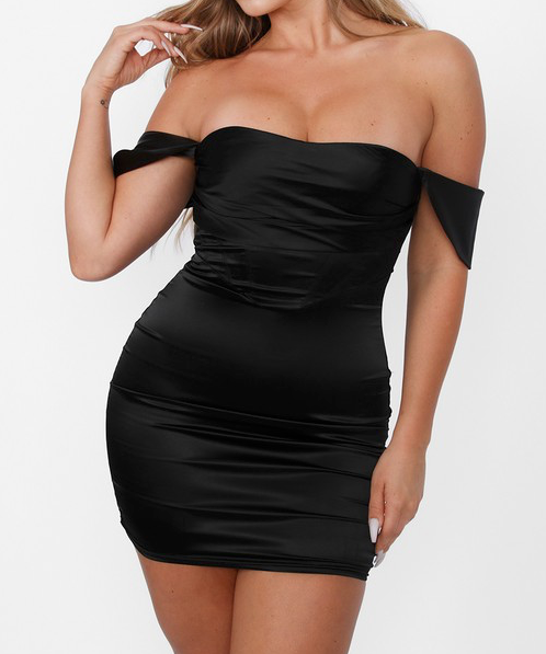 Kim SATIN CORSET OFF SHOULDER MINI DRESS
