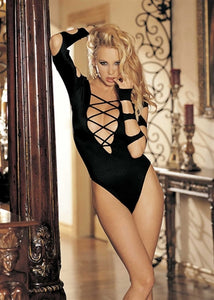 Long Sleeve Cut-Out Thong Body Suit - One Size - Black HOT-90211BLK